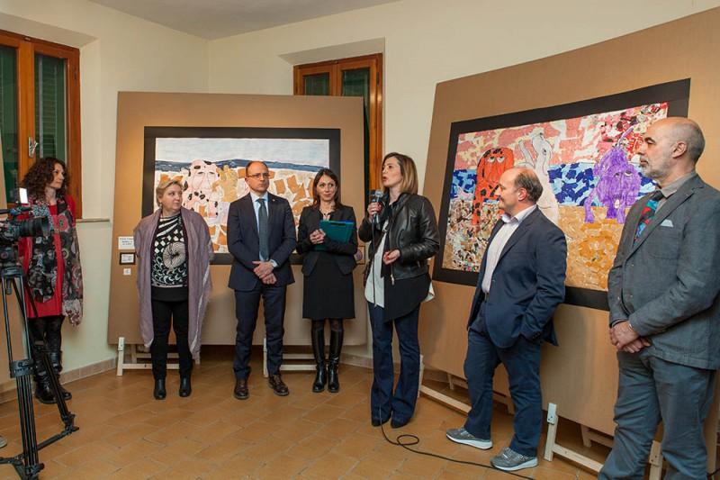 Da sinistra - Ivana Zaffora, Lia Nasello, Simone Giugni, Paola Nacci, Giulia Deidda, Francesco Lapi e Alberto Silva