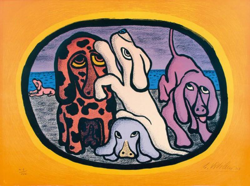 Giuseppe Viviani - Gruppo di cani - opera originale